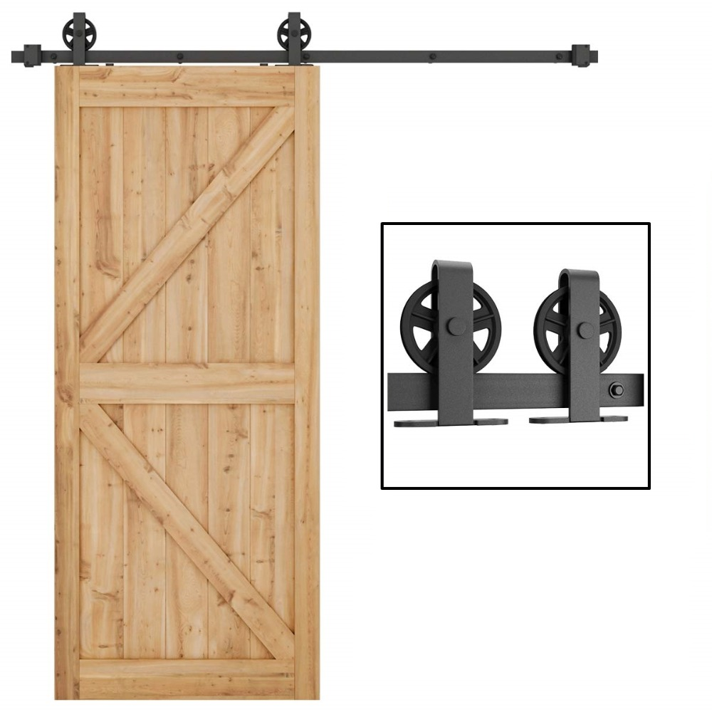 Black Carbon Steel Top Mount Big Wheel Sliding Barn Door Hardware