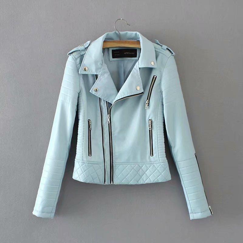 2019 New Spring Autumn Slim Short   Leather   Jacket Ladies Turn Down Collar Zipper Plaid Pu Coats Women Blue Pink Biker Moto Coat