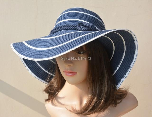 A180 Blue  Womens Racing Sun Wide Brim Straw Hats Church Kentucky Derby
