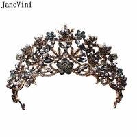 JaneVini Vintage Baroque Black Crystal Bridal Tiaras and Crowns Princess Pageant Headband Women Wedding Jewelry Hair Accessories