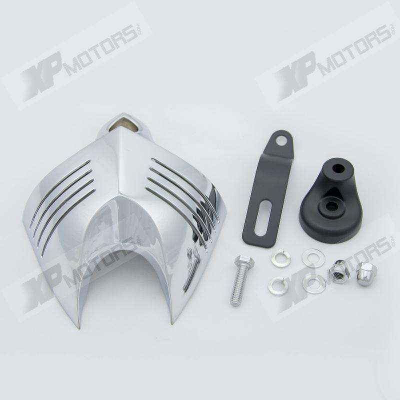 High Quality  Alloy  Chrome V-Shield Horn Cover For Harley H-D Dyna Low Rider Fat Bob Super Glide Wide Glide chrome black skull hand mirrors for harley street fat bob boy low rider dyna xl