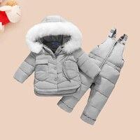 HSSCZL Children Clothing Set Jumpsuit Snow Jacket+bib Pant 2pcs Set Baby Boy Girls Duck Down Jacket Coat white Fur Hood 0 3Age