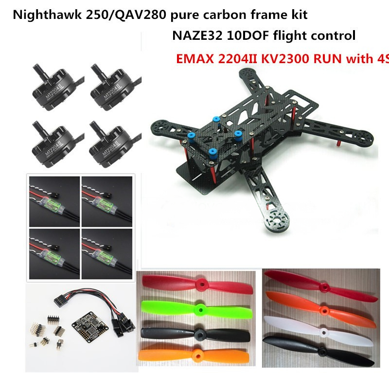 DIY FPV mini drone Nighthawk 250 / QAV280 pure carbon quadcopter frame kit NAZE32 10DOF + EMAX MT2204 II 2300KV RUN with 4S new qav r 220 frame quadcopter pure carbon frame 4 2 2mm d2204 2300kv cc3d naze32 rev6 emax bl12a esc for diy fpv mini drone