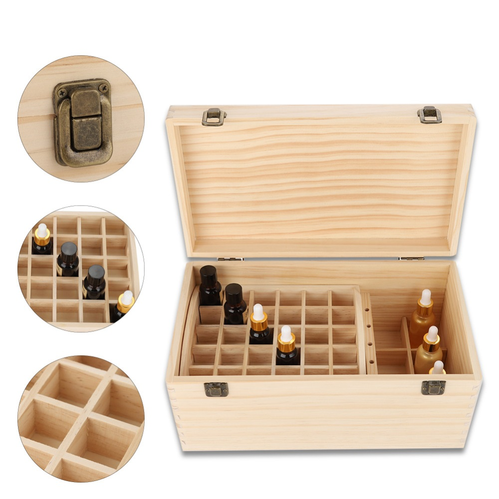 Essential Oil Wooden Storage Box Case Double-layer Wood Large Nail Gel Oil Bottle Storage Display Stand Holder Box Makeup Tool nail art box 3 layer multi utility storage case professional manicure kit nail tool makeup box large size