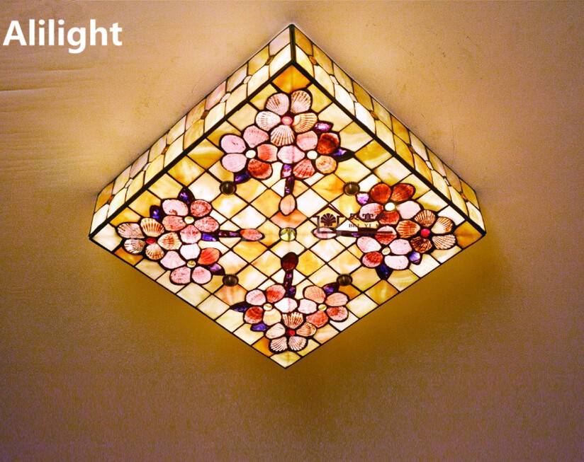 European Natural Shell Ceiling Light Square Indoor Lighting Tiffany LED  Ceiling Lamp Hanging Light Home Decor