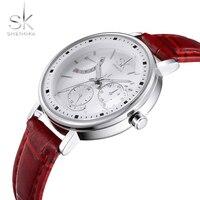 SK Brand Women Dress 3ATM Waterproof Watches Leather Strap Band Fashion Quartz Watch Elegant Wristwatches Ladies