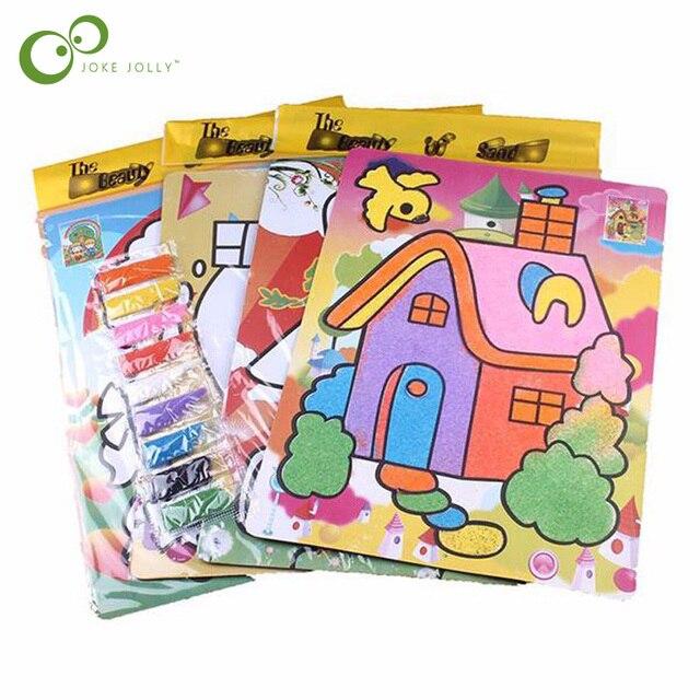 3 unids/lote niños chico s dibujo juguetes pintura de arena fotos chico DIY juguete de la educación para los niños y las niñas GYH