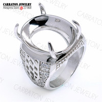 Genuine 925 Sterling Silver High Quality Big Men S Ring Without Main Stone Ready For Gemstone