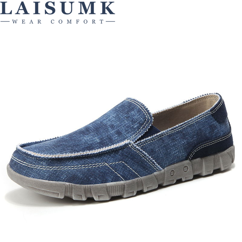 LAISUMK New Low price Mens Breathable High Quality Casual Shoes Jeans Canvas Slip On men Fashion Flats Loafer