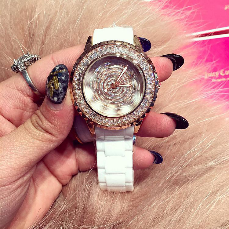 ФОТО Luxury Brand Women Ceramic Strap Quartz Watch Female Rhinestone Rotatable Dial Wristwatch Sparkling Shining Ladies Watches OP001