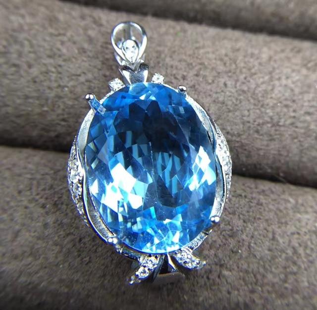 Natural big blue topaz pendant s925 silver natural gemstone natural big blue topaz pendant s925 silver natural gemstone pendant necklace trendy lovely elegant round flower mozeypictures Images