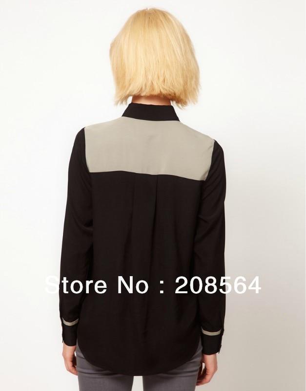 De Las negro blanco Mujeres Blusa Completa Tops Negro Blanco Manga Nuevo Elegante Patchwork Estilo Sl Camisas 9084 gH5REqwwFW