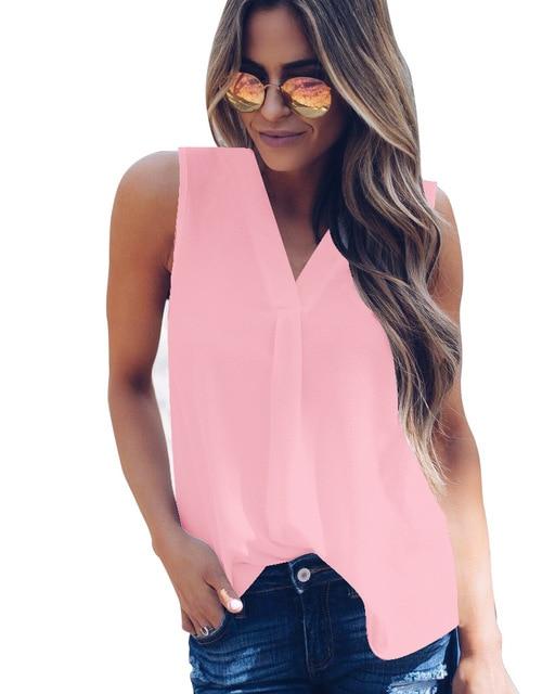 2019 New Summer Women Blouse Tops Loose Sleeveless Shirts Casual Solid Chiffon Blouses Plus Size Female Shirts Vest Women 5XL 4