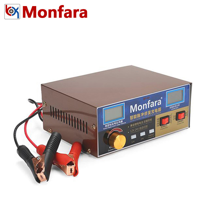 Monfara 6 400AH Lead Acid Lithium iRon Battery Charger for 12V 24V Car Motorcycle Truck Auto