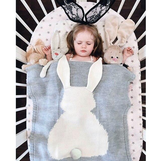 New Hot BabyToddler Bedding Knitted Baby Blanket Wrap Soft Blankets Newborn Big Rabbit Ear Swaddling Kids Gift Girls Blankets