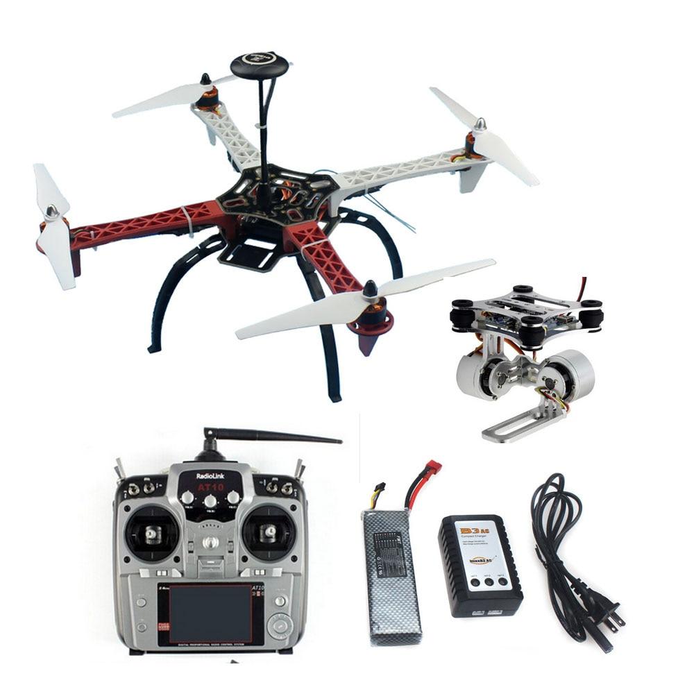 Diy rc drone 4-axis aeronaves quadrocopter F450-V2 quadro gps apm2.8 controlador de vôo aéreo fpv ptz at10 ii transmissor bateria