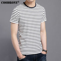 COODRONY 2017 Spring Summer New Arrival Fashion Striped O Neck T Shirt Men 100 Cotton T