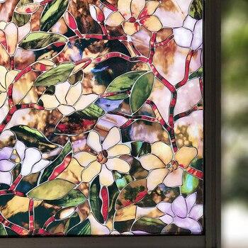 Película de protección solar de 45/x 200 cm para ventanas 60/90. Película antiestática antiadherente con diseño de magnolia para el hogar, película de protección solar decorativa