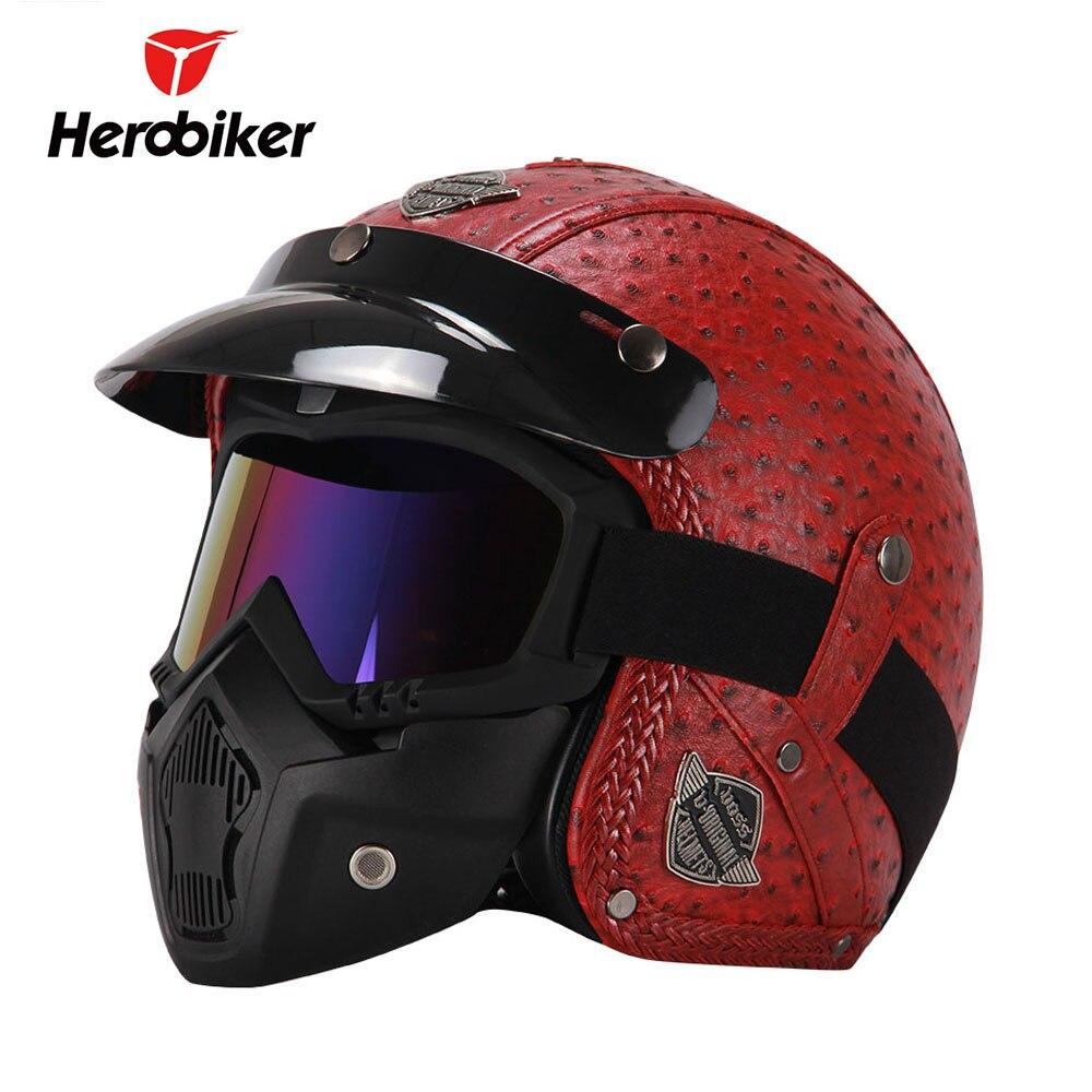 HEROBIKER Moto Casque Vintage Rétro 3/4 casque ouvert Cruiser Biker Chopper PU En Cuir Casco Moto Casque Masque Lunettes
