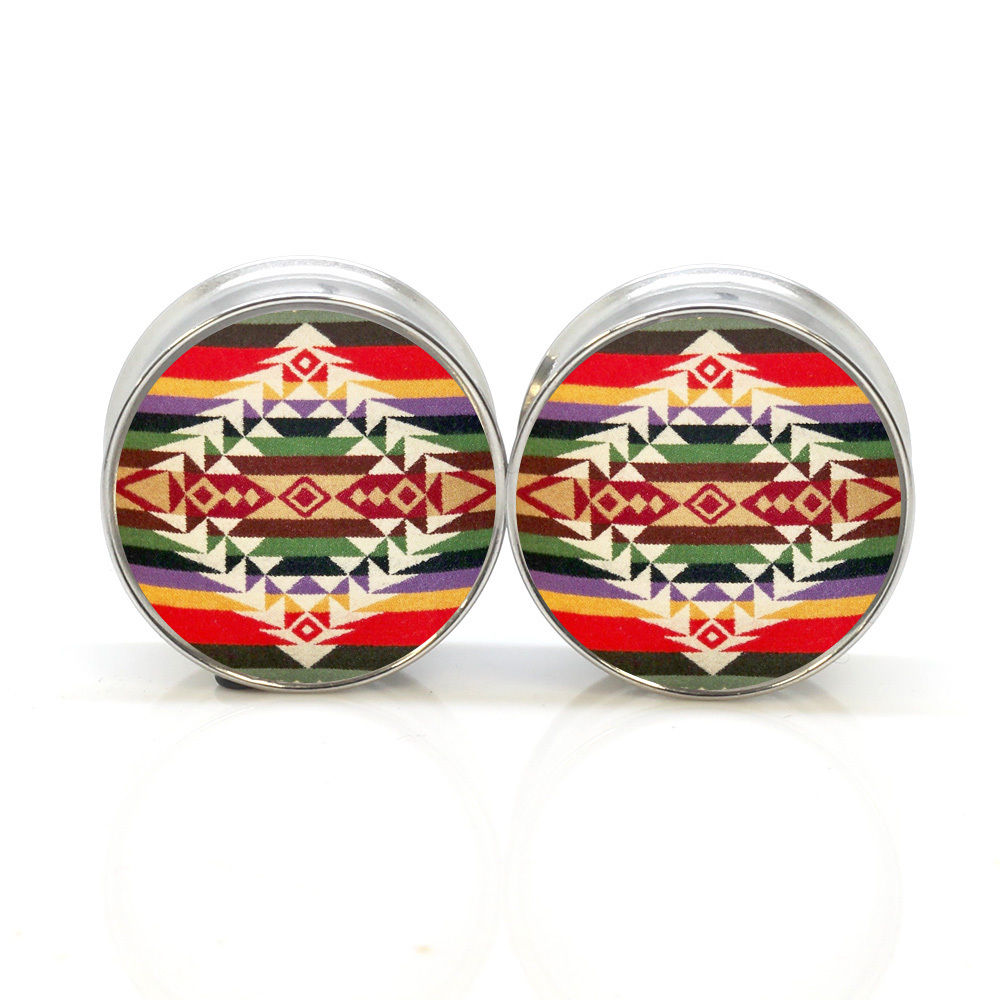 1 pair tribe pattern stainless steel night owl plug tunnels double flare ear plug gauges body piercing jewelry