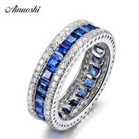 AINUOSHI Princess Cut Eternity Ring Square Blue Stone 925 Sterling Silver Ring for Women Engagement Wedding Jewelry Rings Gifts
