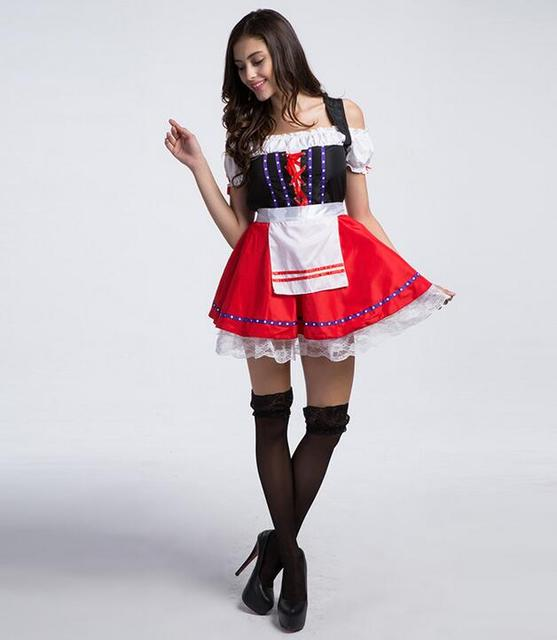 Hot Sale Red Sexy French Maid Costume Cosplay Beer French Maid Costumes Halloween Costumes For Women Bar Waiter Disfraces CE365