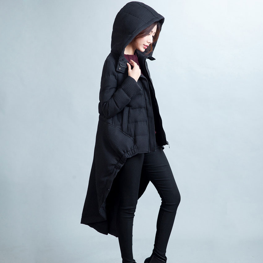 2017 Winter Warm 90% White Duck Thick Black Sallow Tail Long Hooded Dovetail Down Coat Jacket Women M/L/XL