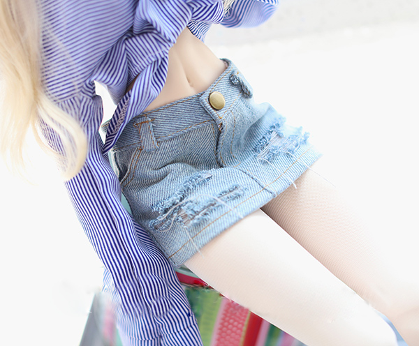 BJD doll shorts ligth blue broken hole jeans short style for 1/3 1/4 BJD MSD SD DD SD16 girl doll clothes accessories цена