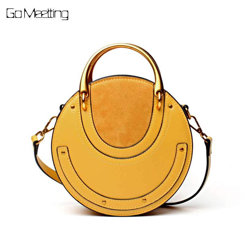 Go Meetting Cow Leather Women Shoulder Bag High Quality Women Crossbody Bags Handbag Vintage Rivet Samll Circular Bag женские часы go girl only go 694925