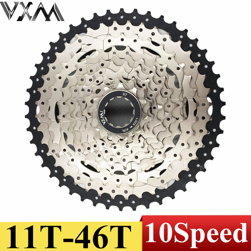 VXM Cycling Bicycle Flywheel 11-46T 10 Speed 10s Wide Ratio Mountain bike freewheel Cassette XT Bicycle flywheel Bicycle Parts mtb mountain bike bicycle 10s cassette freewheel 10 speeds flywheel 11 36t teeth crankset bicycle parts 392g silver