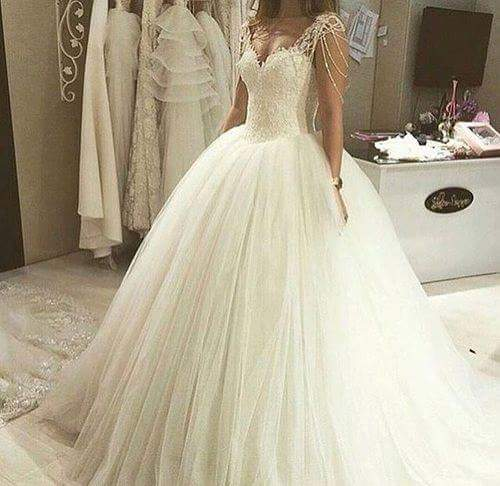 ZJ9082 Sexy High Quality Lace A-Line Elegant White Ivory Beaded Wedding Dress 2019 Bride Dresses Pearls Sleeve