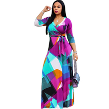 2019 new print dress fashion sexy V-neck bohemian style stitching irregular