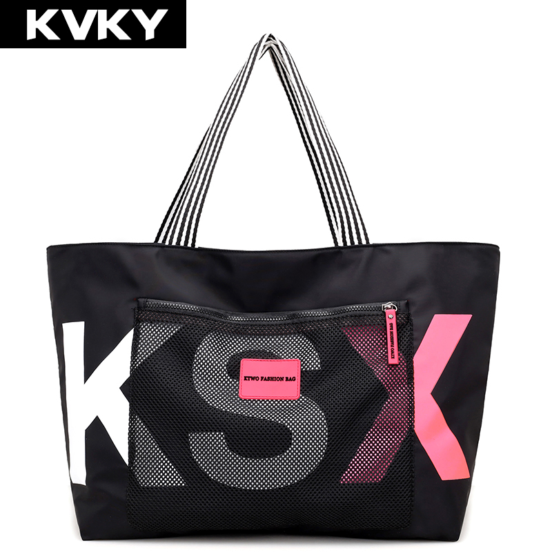 KVKY Brand Women Handbags Ladies Messenger Bags Nylon Travel Casual Tote Shoulder Bag Large Capacity Waterproof Female Beach Bag kvky vintage canvas women handbags large capacity patchwork casual female shoulder bags brand messenger bag totes bolsa feminina
