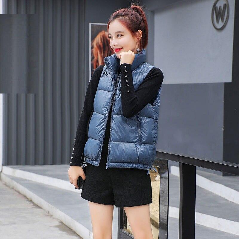 Fille Femelle Décontractés Femme Brillant 2019 Thermique Blanc Noir blanc Nouveau bleu Noir rouge Automne Vêtements Hiver Coton D'extérieur Gilet Rouge Bleu Pour v8w8qX
