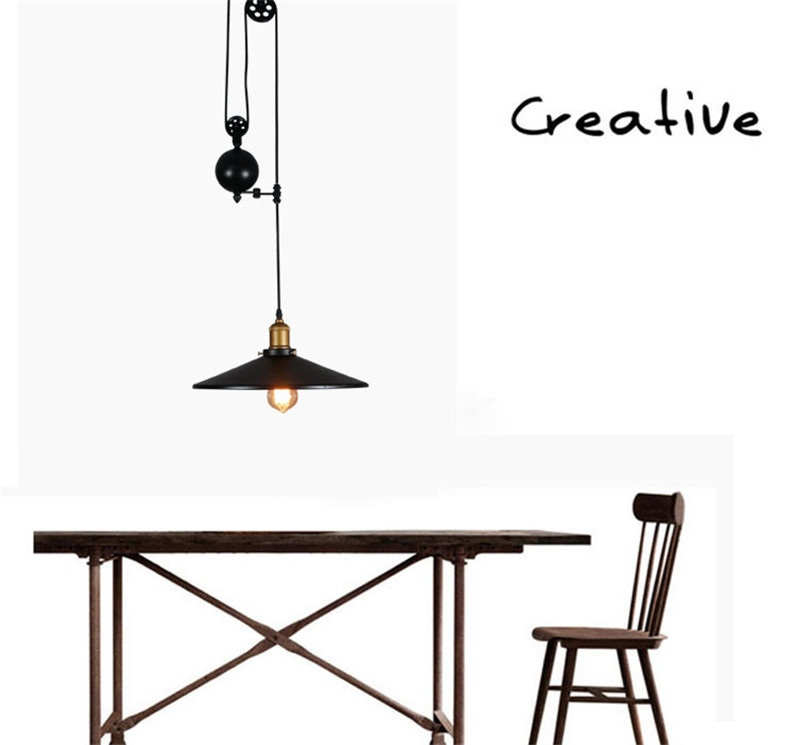 L40-Creative Pulley Lifting Retro Chandelier Adjustable DIY E27 Art Ceiling Pendant Lamp Vintage Loft Antique Fixture Light 9lights e27 diy ceiling spider pendant lamp shade light antique classic adjustable retro chandelier dining home lighting fixture