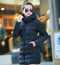 Cheap wholesale 2016Spring winter new 7colors M-XXL down cotton Lady Jacket thickening women's slim medium-long warm basic Coats