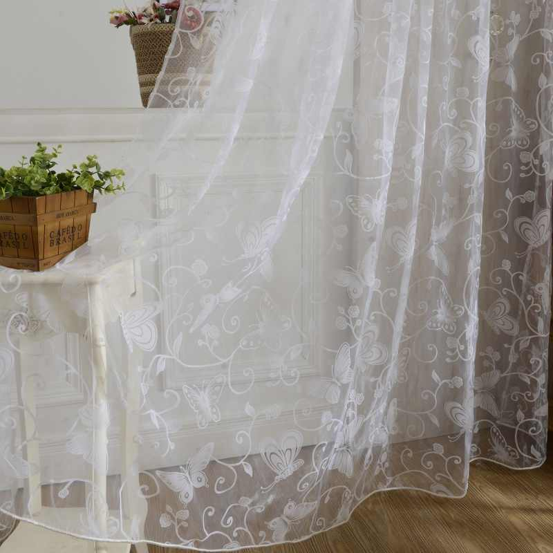 Home Curtains Window Butterfly Burnout Tulle Voile Fabric Transparent Sheer Living Room Screening Living Room Home Hanging Decor