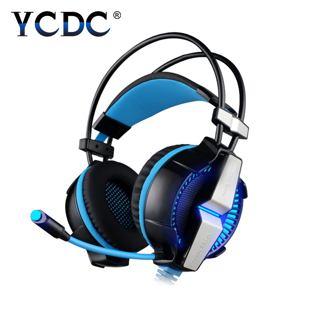 YCDC EACH G7000 7.1 USB Surround Sound Gaming Headphones Microphone Stereo Headset Enhanced Bass LED Light for Computer PC Gamer each g8200 gaming headphone 7 1 surround usb vibration game headset headband earphone with mic led light for fone pc gamer ps4