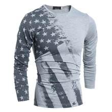 92923c57b0e697 2019 Весенняя модная футболка с длинным рукавом США с принтом в виде  американского флага футболки Осень