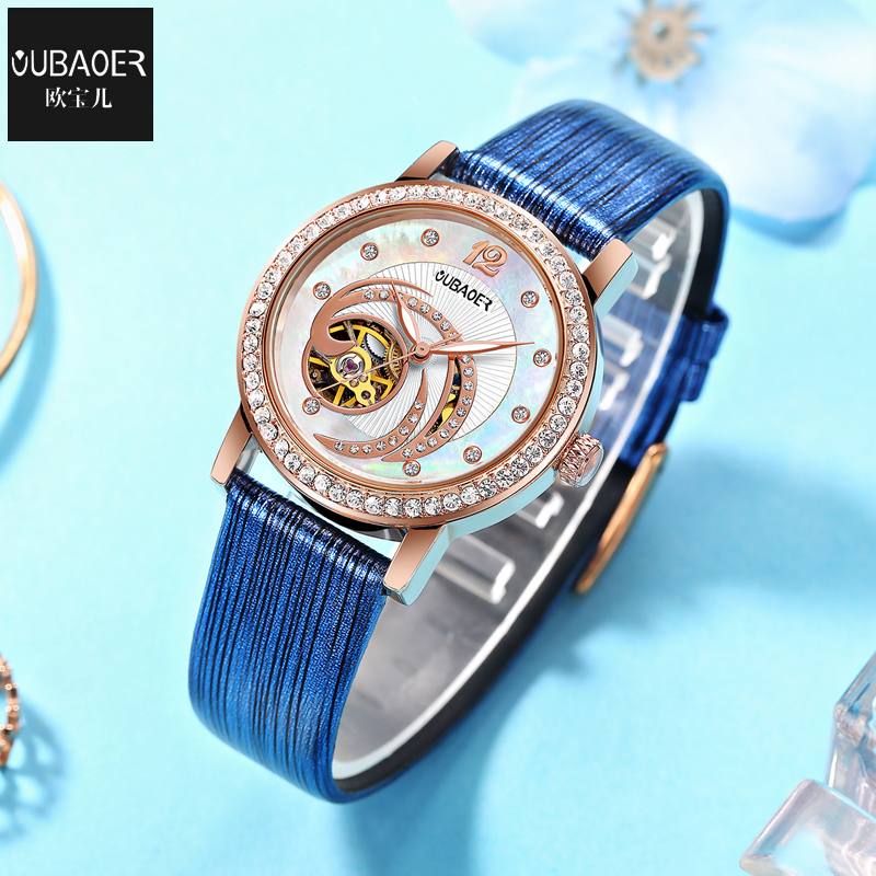Luksus Top Brand OUBAOER Kvinder Watch Rhinestone Skeleton - Dameure - Foto 3