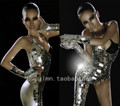 mirror fashion Unique paillette costume female singer ds show silver lens one shoulder bodysuit for singer dancer nightclub bar