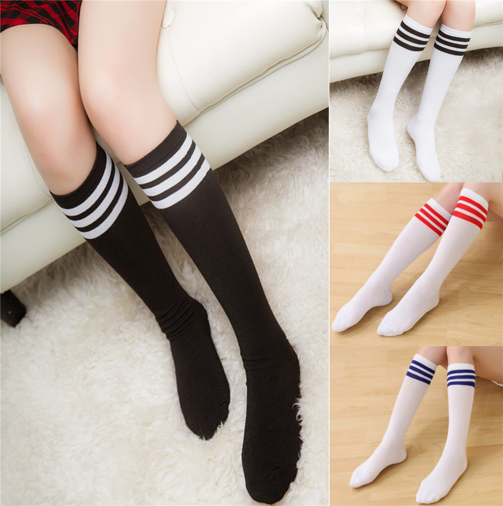 1 Pair Socks Ladies Knee High Three Line Striped Cotton Socks Casual Women Socks