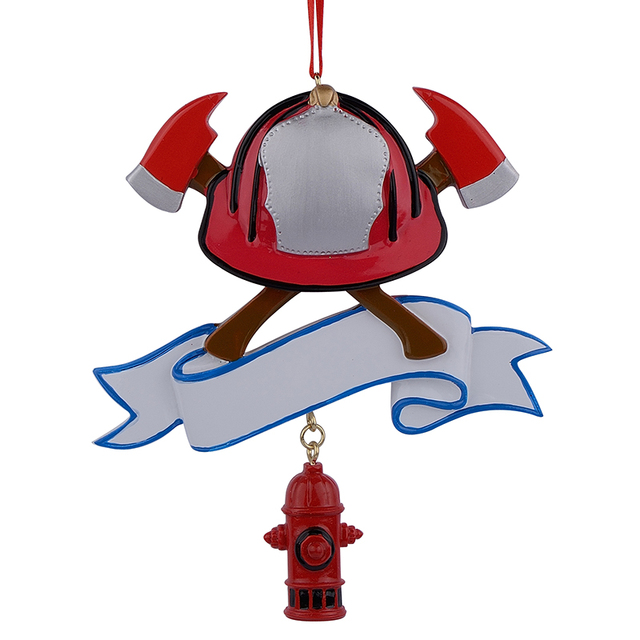 wholesale firefighter personalized polyresin christmas ornament as for holiday fire festival gifts