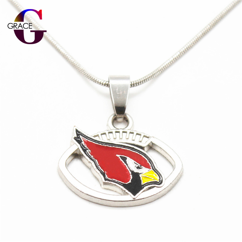 Fashion Arizona Cardinals Team Charms Football Sports Pendant Necklace With Snake Chain(45+5cm) Necklace For Women DIY Jewelry