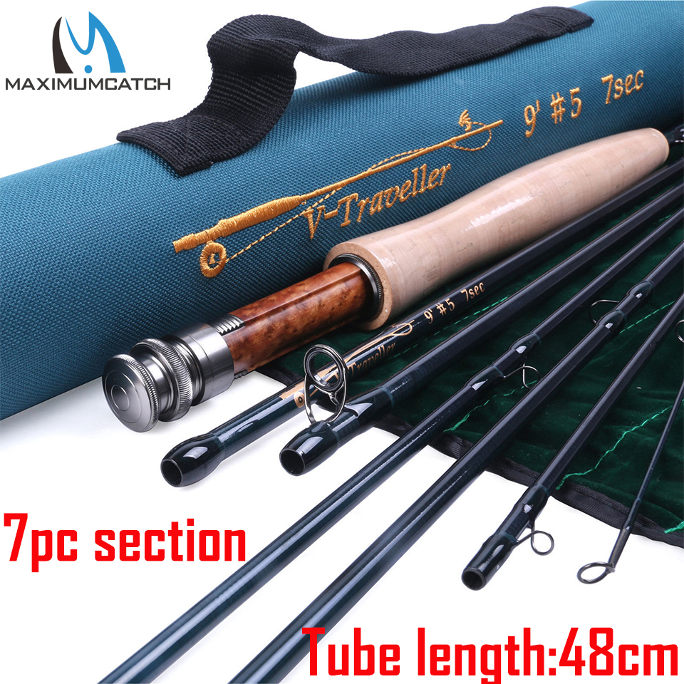 Maximumcatch Traveller Fly Fishing Rod 7sec IM10 30T+40T Carbon Fiber Fast Action with Cordura Tube For Travel 4/5/6/7/8/9WT maximumcatch v traveler 9ft 5 6 7 8 9wt fly fishing rod graphite im10 carbon fiber 7pcs fast action travel fly rod