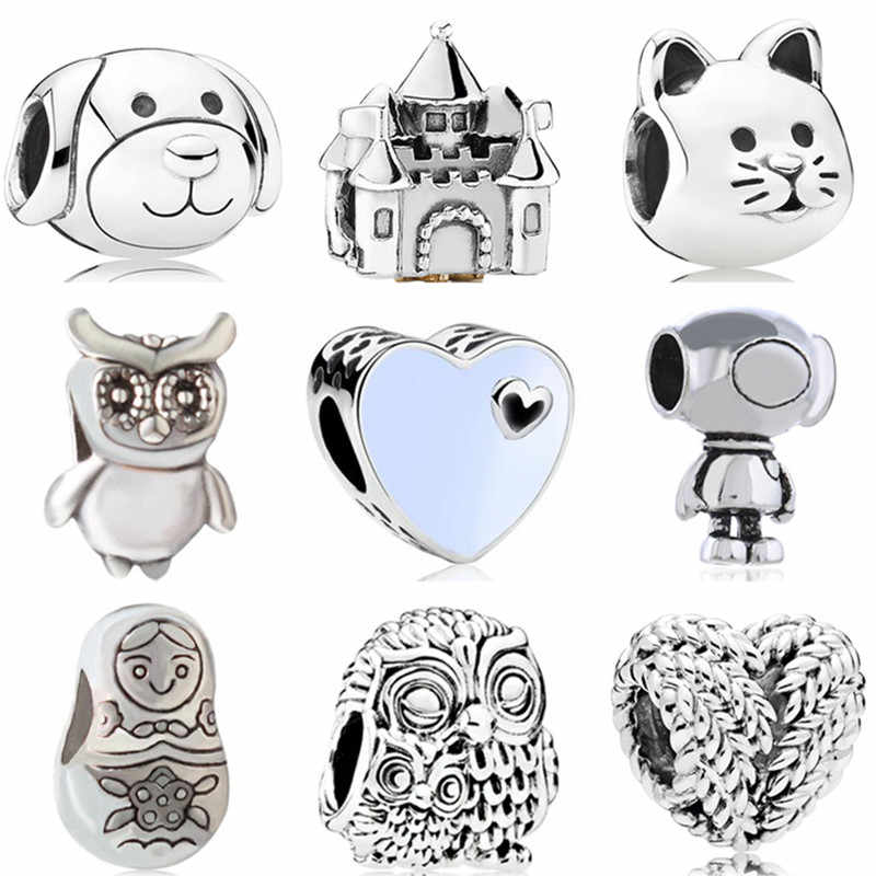 Simple Style Cute Animal Dog Cat Owl Castle Love Heart Alloy Charm Beads Fit Pandora Original Bangles Women DIY Jewelry Berloque