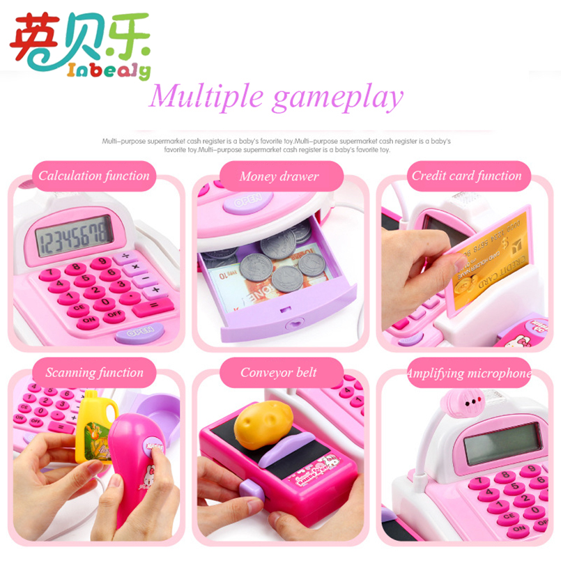 Pretend Play Simulation Electronic Supermarket Cash Register Machine Toys Educational Miniature Furniture Toys For Girl Gifts Islamabad