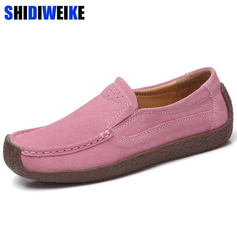 Brand Comfortable 2019 Loafers Women   Suede     Leather   Flat Platform Ladies Elegant Shoes Woman Women Casual Shoes Size 35-42 n710