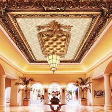 Papel tapiz clásico de lujo con diseño en relieve de murales de techo para paredes, papel tapiz 3d, pinturas decorativas de techo