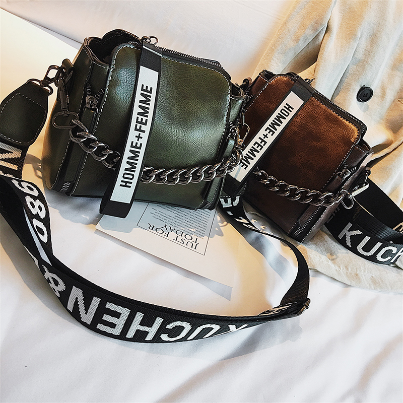 Barrel Shaped PU Leather Design Crossbody Bag With Thick Chain Stripe Wide Strap Shoulder Bag Small Flap Bucket Bags